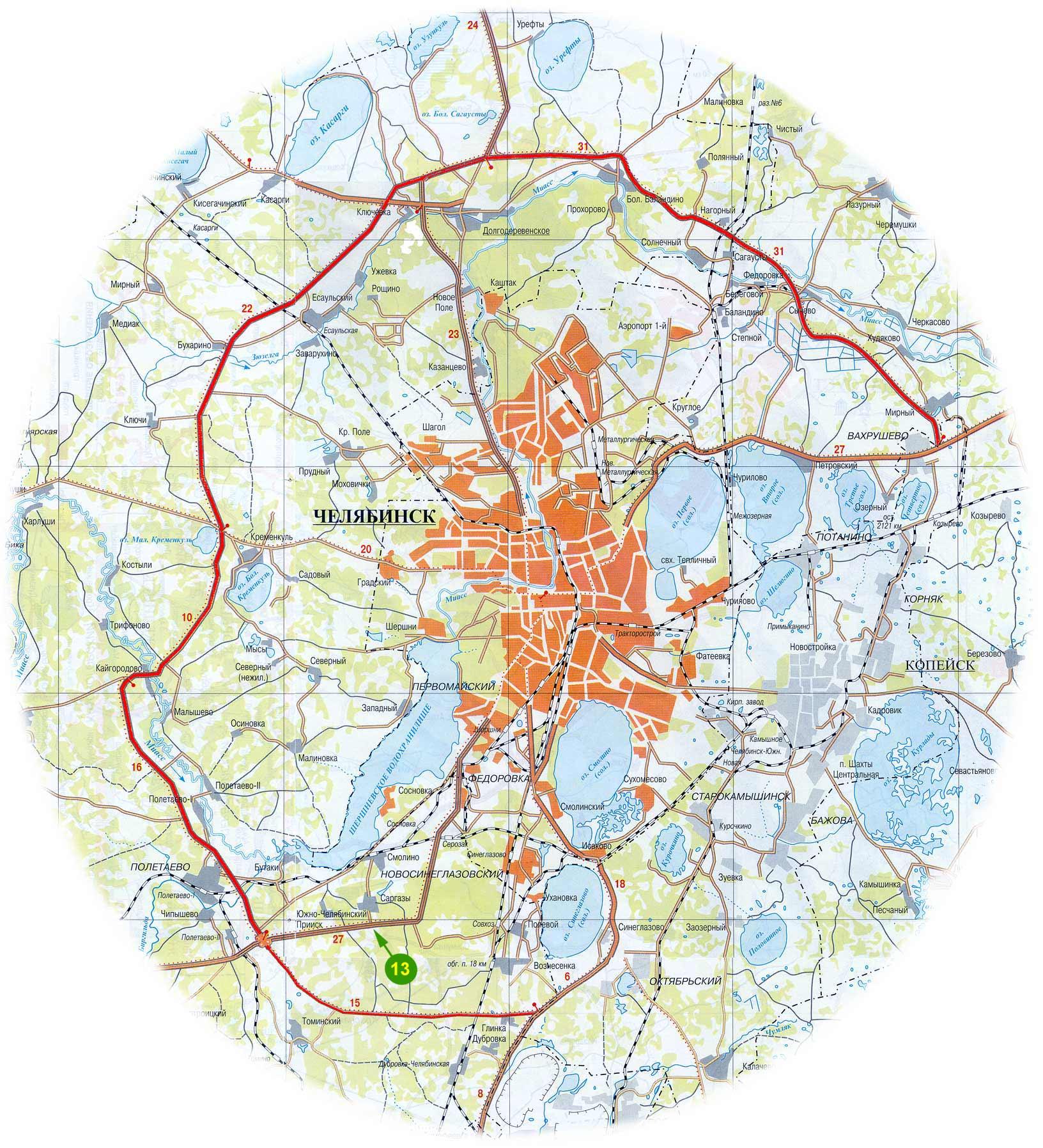SMarat. а по времени через город как? быстрее, чем предложено здесь.  2,656. объезд Челябинска слева...